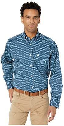 Ariat Wrinkle Free Mirmar Print Shirt (Deep Petroleum) Men's Clothing
