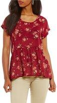 Jolt Floral Printed Lace-Up-Back Short Sleeve Peplum Top