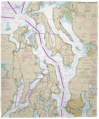 Island Girl Home, Inc. Puget Sound Northern, Wa Nautical Chart Fleece Throw Blanket