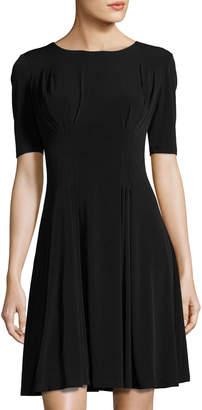 Catherine Malandrino Pleated Fit & Flare Dress, Black