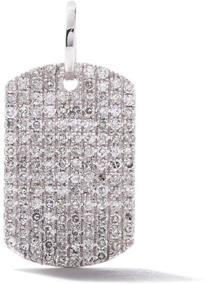 As 29 18k white gold pave diamond Curved Rectangle pendant