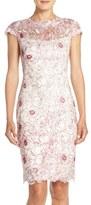 Tadashi Shoji Petite Women's Embroidered Mesh Sheath Dress