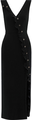 Saloni Marley Button-embellished Stretch-crepe Midi Dress