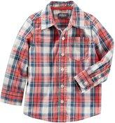 Osh Kosh Button Down Poplin Shirt - Plaid - 4T