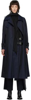 Sacai Navy Gabardine Inner Dress Trench Coat