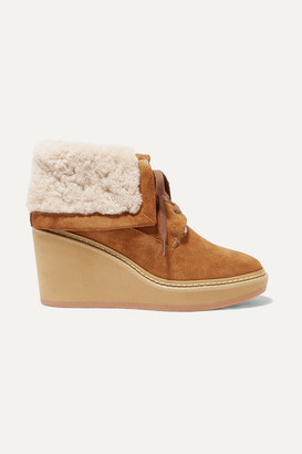 See by Chloe Shearling-trimmed Suede Wedge Ankle Boots - Camel