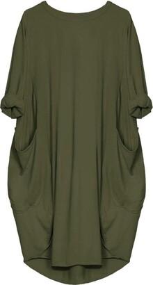 Toamen Women's Dress Toamen Womens Loose Dress Sale Ladies Casual Long Sleeve Solid Pocket Tops Dress Plus Size (Black 14)