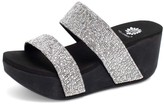 clear Yellow Box Shoes Women's Sandals Black & Silver Bandah Wedge Sandal - Women