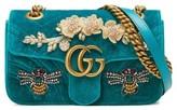 Gucci Mini Gg Marmont Matelasse Velvet Shoulder Bag - Blue