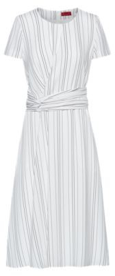 HUGO BOSS Striped Dress With Waist Detail - White