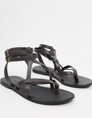 ASOS DESIGN Franca leather gladiator sandals in chocolate brown