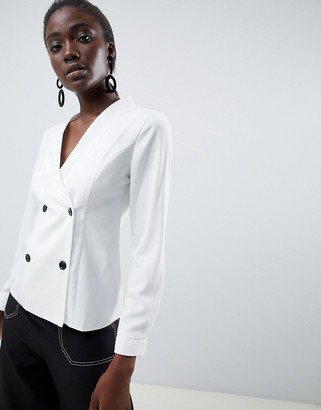 Asos DESIGN long sleeve blouse with tuxedo detail