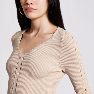 River Island Womens Cream cable knit V neck jumper