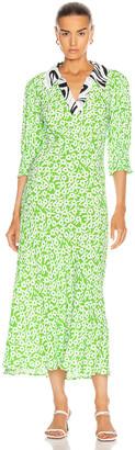 Rixo Mia Dress in Retro Micro Floral Swirl | FWRD