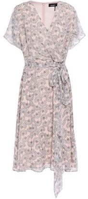 DKNY Draped Wrap-effect Floral-print Georgette Dress