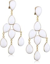 """Yochi 14k Gold-Plated and White Chandelier Clip-On Earrings, 2.5"""""""