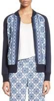 St. John Women's Kali Tile Print Stretch Silk Crepe De Chine Bomber Jacket