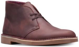 Clarks Men's Bushacre 2 Aubergine Leather Chukka Boots Men's Shoes