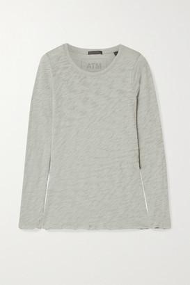 ATM Anthony Thomas Melillo Distressed Slub Cotton-jersey Top - Gray green