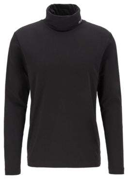 BOSS Long-sleeved T-shirt in stretch cotton with turtleneck