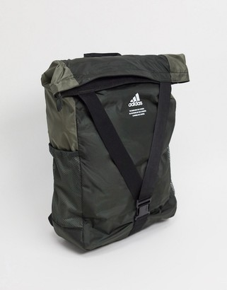 adidas Fold Over Backpack In Grey