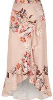 River Island Womens Pink floral print frill hem wrap maxi skirt