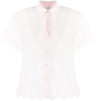 Blumarine Sheer Embroidered Short Sleeve Shirt