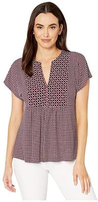 MICHAEL Michael Kors Tile Border Flutter Sleeve Top (Bone/Garnet) Women's Clothing
