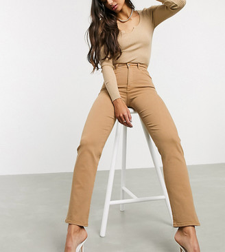 Asos Tall ASOS DESIGN Tall High rise stretch 'slim' straight leg jeans in tan