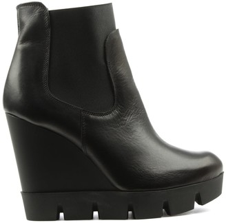 Black Leather Cleated Wedge Ankle Boot
