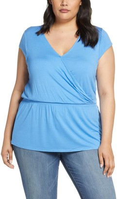 Gibson X Hot Summer Nights Almost Ready Smocked Jersey Peplum Top (Plus Size)