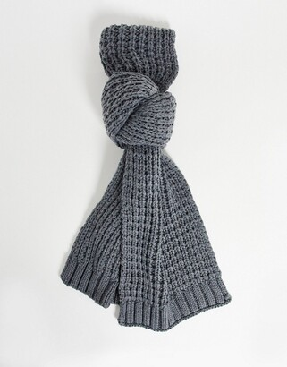 ASOS DESIGN knitted scarf in grey
