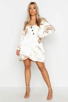boohoo Plus Satin Tailored Button Blazer Dress