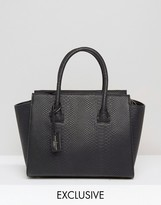 Pauls Boutique Exclusive Bethany Black Snake Structured Tote