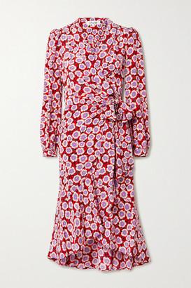 Diane von Furstenberg Carla Two Asymmetric Floral-print Silk Crepe De Chine Wrap Dress - Crimson