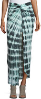Young Fabulous and Broke Kulani Front-Twist Maxi Skirt, Olive/Ocean Ripples