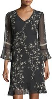 Taylor Floral-Print Chiffon Flounce Dress
