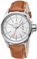 JBW Silvertone Rook Leather-Strap Watch - Men