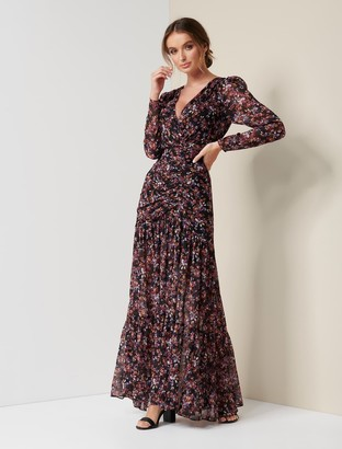 Forever New Agnes Ruched Wrap Maxi Dress - Voilet Trailing Ditsy - 4