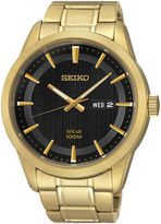 Seiko Mens Gold-Tone Stainless Steel Solar Watch SNE368