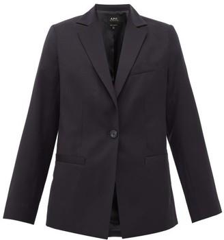 A.P.C. Savannah Tailored Wool Jacket - Navy