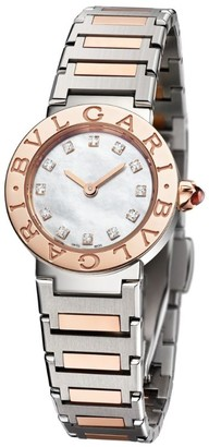 Bvlgari Rose Gold, Stainless Steel, Mother-of-Pearl and Diamond Lady Watch 23mm