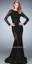La Femme Sheer Lace Flared Prom Dress