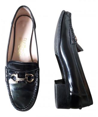 Salvatore Ferragamo Black Leather Flats