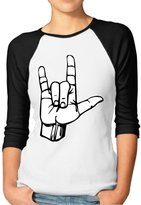 AeNo Women's I Love You ASL Handshape 3/4 Baseball T-Shirt Raglan Shirts