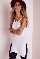 Missguided Ribbed Split Side Tunic White