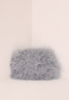 Missguided Feather Clutch Bag Silver