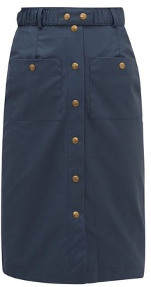 Symonds Pearmain - Waxed-cotton Pencil Skirt - Navy