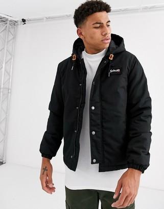 Schott hooded parka jacket in black