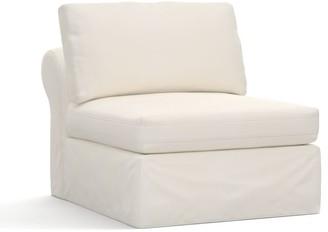 Pottery Barn PB Air Slipcovered Armless Chair - Denim, Warm White